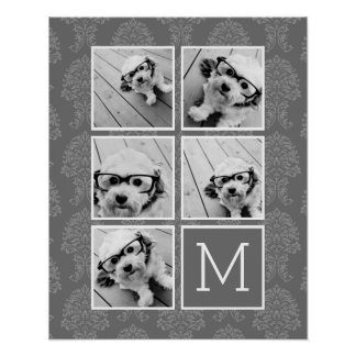 Linen and Gray Instagram 5 Photo Collage Monogram Poster
