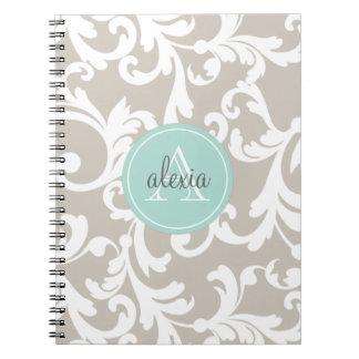 Linen and Mint Monogrammed Damask Print Spiral Notebook