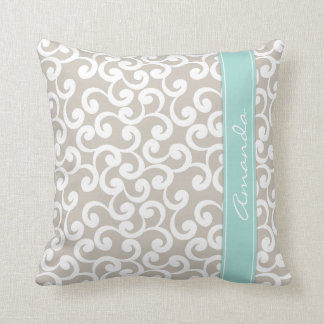 Linen and Mint Monogrammed Elements Print Cushion