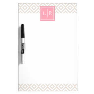 Linen and Pink Diamonds Pattern and Monogram Dry Erase Board