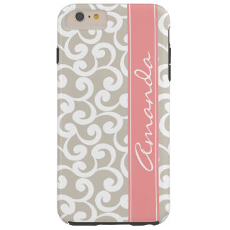 Linen and Pink Monogrammed Elements Print Tough iPhone 6 Plus Case