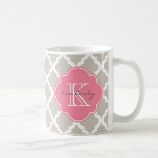 Linen and Pink Moroccan Quatrefoil Print Coffee Mug