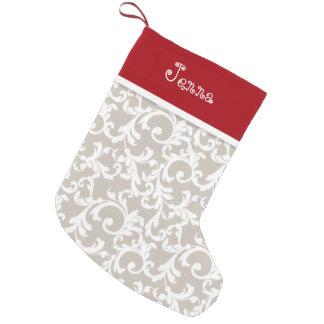 Linen and Red Christmas Monogram Damask Print Small Christmas Stocking