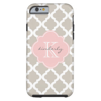 Linen and Soft Pink Moroccan Quatrefoil Print Tough iPhone 6 Case