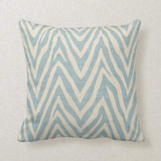 Linen Beige and Blue Zebra Print Cushion