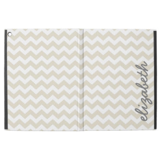"Linen Beige and Charcoal Chevrons and Name iPad Pro 12.9"" Case"