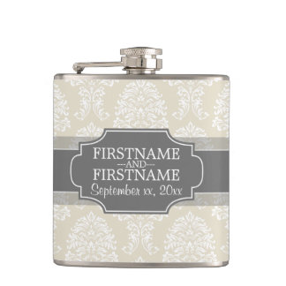Linen Beige and Charcoal Damask Pattern Hip Flask