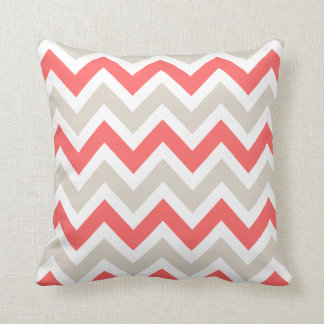 Linen Beige and Coral Chevron Cushion