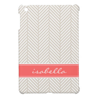 Linen Beige and Coral Herringbone Custom Monogram iPad Mini Cases