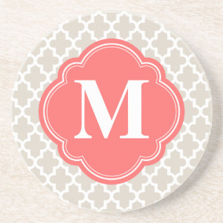 Linen Beige and Coral Modern Moroccan Monogram Coaster
