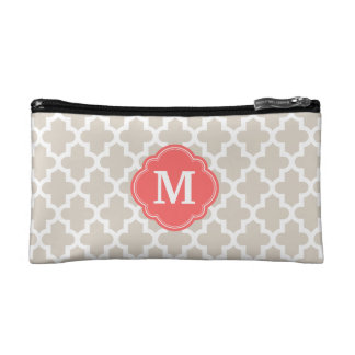 Linen Beige and Coral Modern Moroccan Monogram Cosmetic Bag