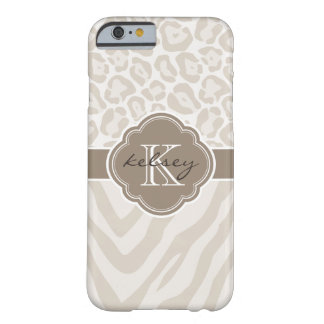 Linen Beige and Mocha Animal Print Custom Monogram Barely There iPhone 6 Case