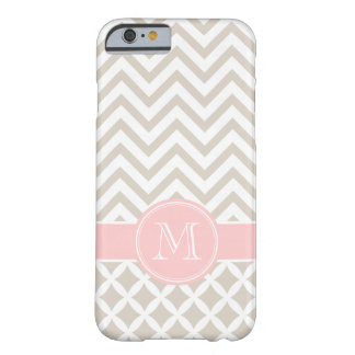 Linen Beige and Pink Chevron Custom Monogram Barely There iPhone 6 Case