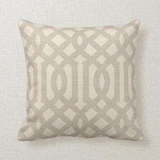 Linen Beige and Taupe Modern Trellis Cushion