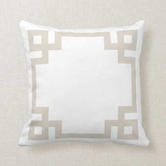 Linen Beige and White Greek Key Border Cushion