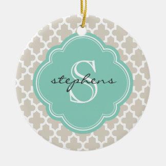 Linen Beige & Aqua Modern Moroccan Custom Monogram Christmas Ornament