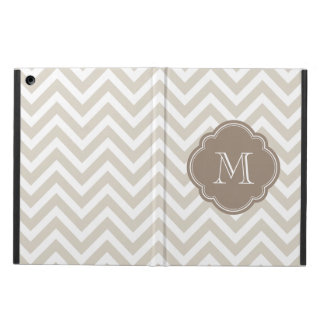 Linen Beige Chevron Custom Monogram Cover For iPad Air