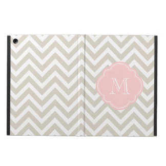 Linen Beige Chevron Custom Monogram iPad Air Cover