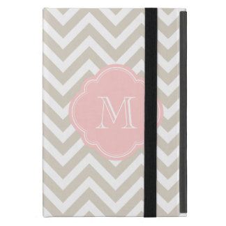 Linen Beige Chevron Custom Monogram iPad Mini Cover