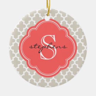 Linen Beige & Coral Modern Moroccan Monogram Christmas Ornament