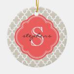 Linen Beige & Coral Modern Moroccan Monogram Christmas Ornaments