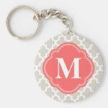 Linen Beige & Coral Modern Moroccan Monogram Keychain