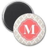 Linen Beige & Coral Modern Moroccan Monogram Magnets