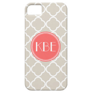 Linen Beige & Coral Quatrefoil Custom Monogram iPhone 5 Covers
