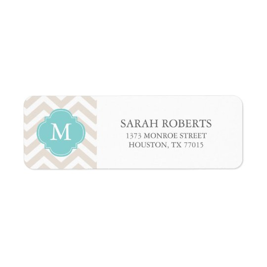 Linen Beige & Mint Zigzags Pattern Monogram Return Address Label