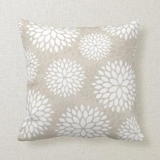Linen Beige Modern Flowers Cushion