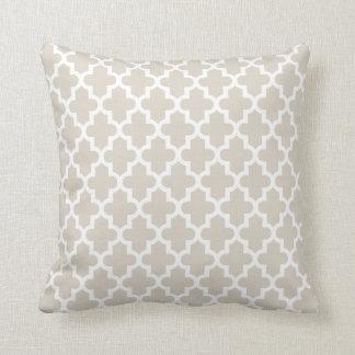 Linen Beige Modern Moroccan Pattern Cushion