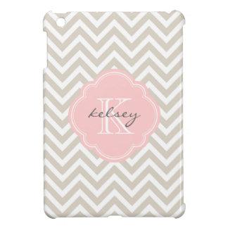 Linen Beige & Pink Modern Chevron Custom Monogram Cover For The iPad Mini