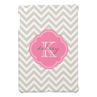 Linen Beige & Pink Modern Chevron Custom Monogram iPad Mini Cover