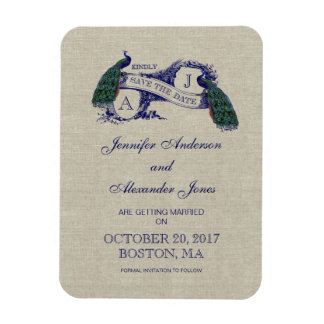 Linen Blue Peacock Save the Date Rectangle Magnets