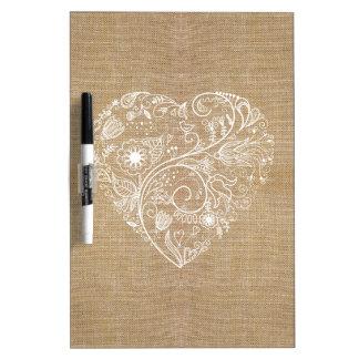 Linen burlap flower heart dry erase board