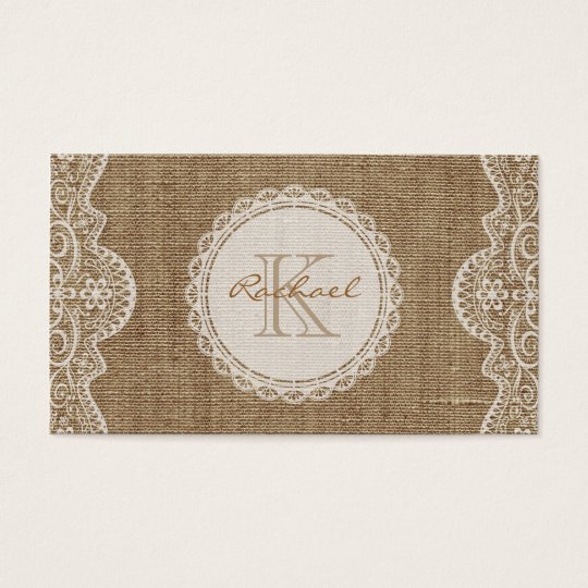 Linen Burlap White Lace Monogram Personal Contact Business