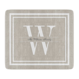 Linen Double Border Monogram Cutting Board