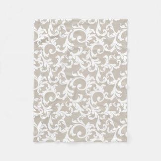 Linen Elegant Damask Print Fleece Blanket