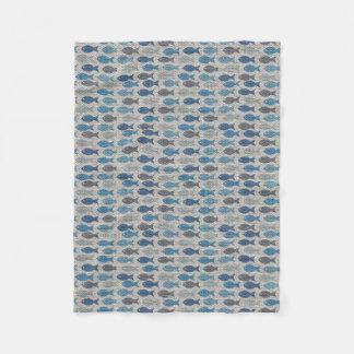 Linen Fish Fleece Blanket
