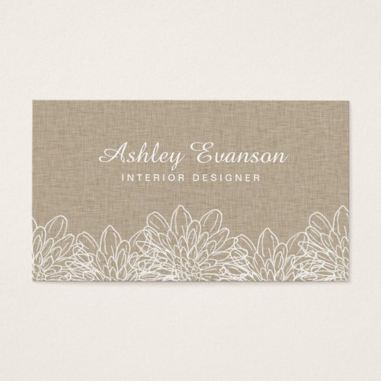 Linen Floral Elegant White Flowers Rustic Business Card