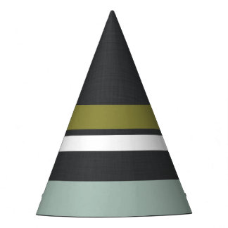 Linen Grey, Blue, Green Striped Party Hat