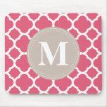 Linen Grey Monogram Pink Quatrefoil Pattern Mouse Mats