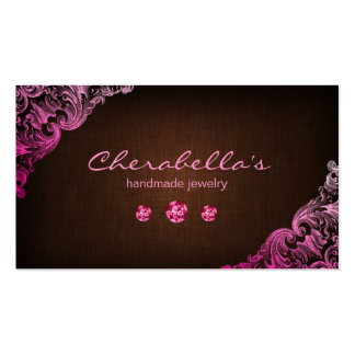 Linen Jewellery Business Card Chocolate Brown Pink