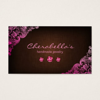 Linen Jewelry Business Card Chocolate Brown Pink