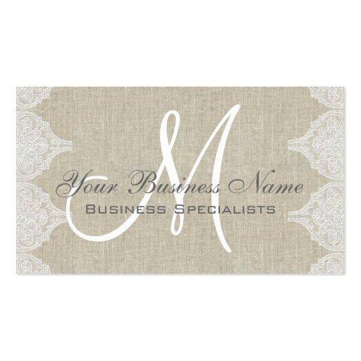 Linen Lace Simple Plain Monogram Business Card Template