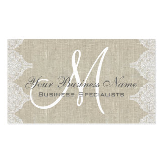 Linen Lace Simple Plain Monogram Pack Of Standard Business Cards