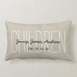 Linen Look Children Personalized Keepsake Lumbar Cushion