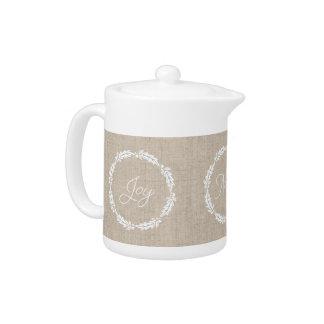 Linen Look Joy Peace Noel Holiday Teapot