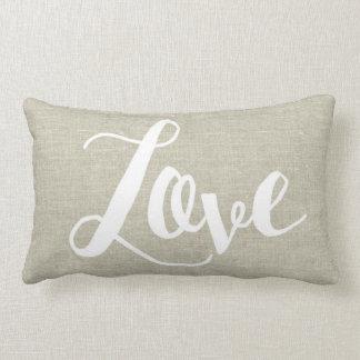 Linen Look Love Lumbar Pillow
