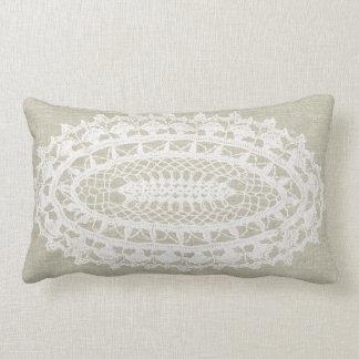 Linen Look White Doily Lumbar Pillow